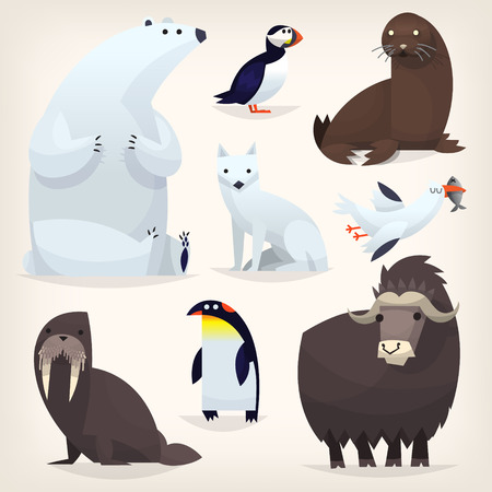 Colorful cartoon arctic animals from polar region and Arctic Circle