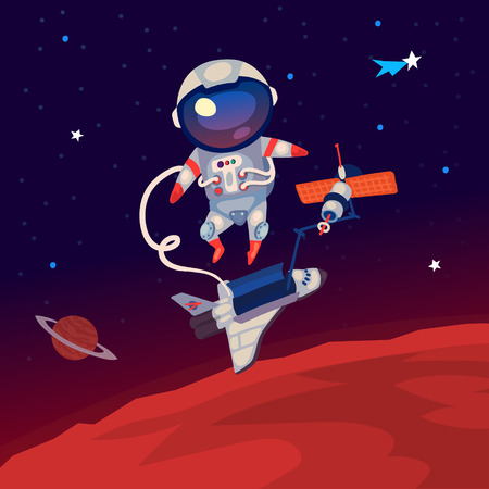 Illustratie met een astronaut zwevend in de ruimte boven Mars in de buurt van het ruimtestation en de shuttle.