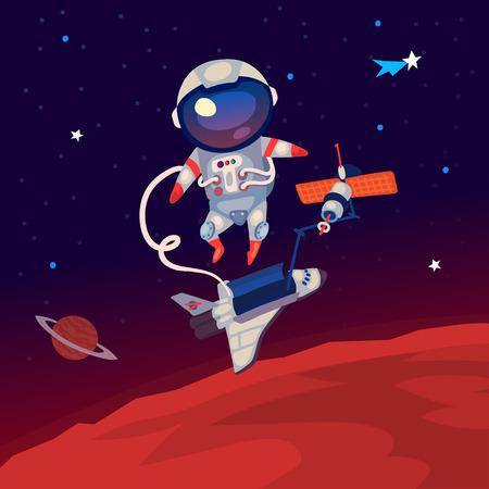 Ilustración con un astronauta flotando en el espacio exterior sobre Marte cerca de la estación espacial y de transporte.