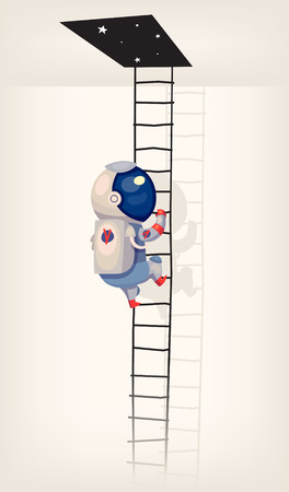 getting: Illustration with an astronaut getting in outer space with ladder Illustration