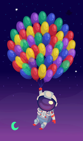 adventure story: Illustration with a man in a spacesuit flying up with a huge amount of balloons with a starry sky on the background.
