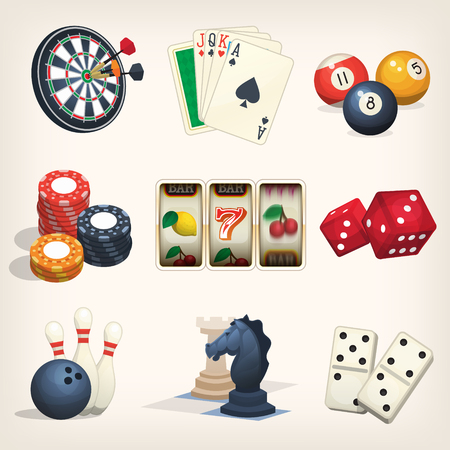 saturday night: Games equipment icons for leasure games, casino and bar sports. Illustration
