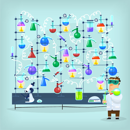 inventing: Poster with biochemistry chemist conducting chemical experiment in his laboratory full of flasks, funnels, dishes, tubes and other equipment. Illustration