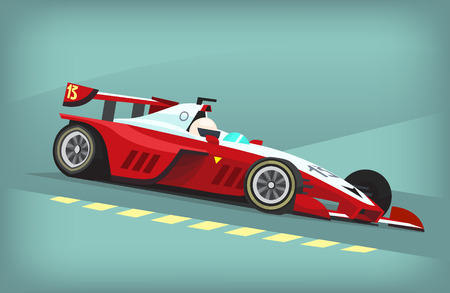 motor racing: Red and white fast motor racing bolide