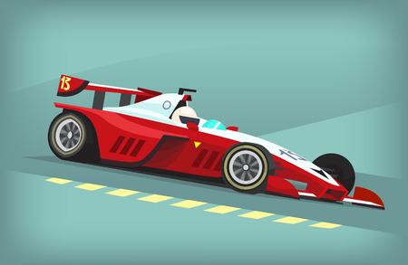 Rode en witte snel autosport bolide Vector Illustratie