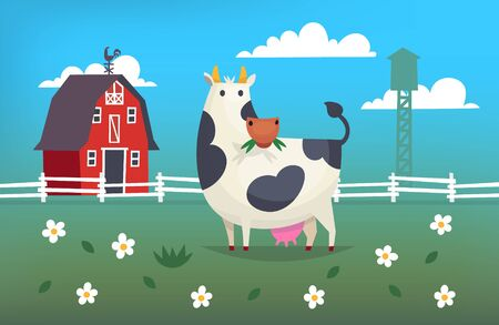 red barn: Card illustration with a cow eating grass on a farm near red barn