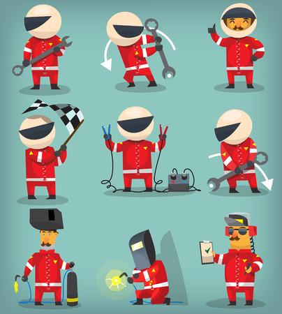 Set van kleurrijke race deelnemers, kampioenen, ingenieurs en pitstop werknemers Stock Illustratie