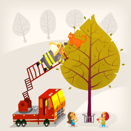ladder safety: Illustration with a fireman climbing up the firetruck ladder to save a ginger cat from a high tree. A boy and a girl are eating candies and looking up at the process. Vector illustration Illustration