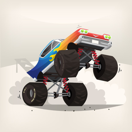 fume: Poster illustration with cartoon monster truck standing on back wheels exhausting fume
