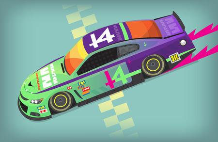 Kleurrijke snelle autosport auto op een startlijn. Vector Illustratie