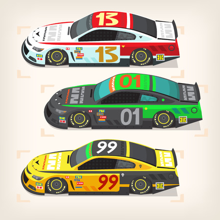 cars racing: Set of colorful fast motor racing cars on a start line.