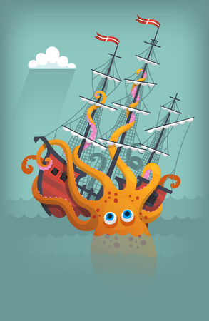 바다에서 거대한 오징어의 파괴와 침몰 선박