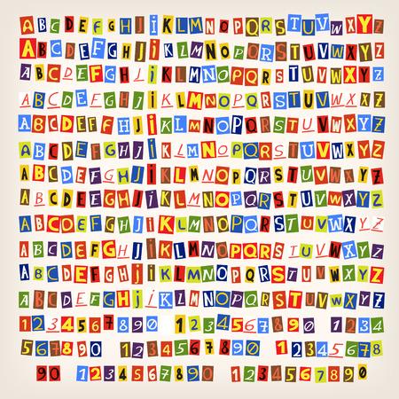 Set di colorate lettere tagliate giornale. 14 stili di lettere. È possibile combinare un alfabeto in un unico stile.