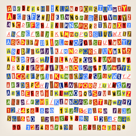 Set mit bunten Zeitung geschnitten Buchstaben. 14 Arten von Briefen. Sie können ein Alphabet in einem Stil kombinieren.