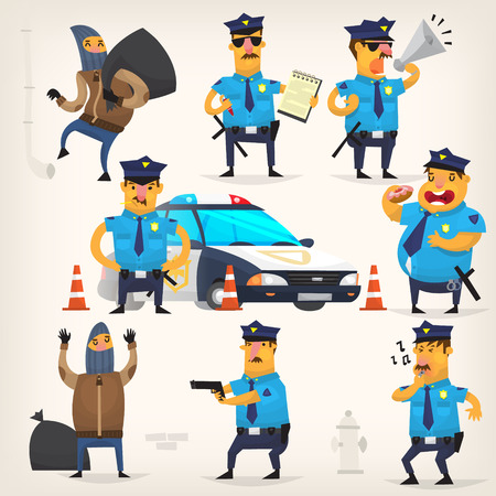 arrested: Set of colorful isolated vector policeman at work.