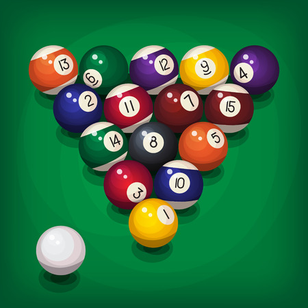 starting: Colorful billiard balls in starting position. Vector illustration, top view