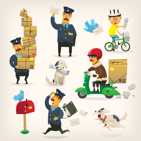 Colorful delivery service workers and postmen at work