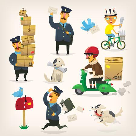 Kleurrijke bezorgservice werknemers en postbodes op het werk Stock Illustratie