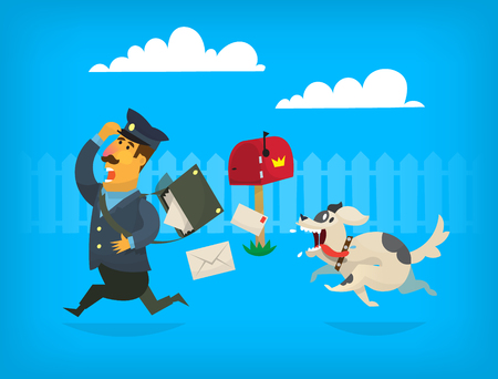 Dog is chasing a mailman along the fence. The mailman is loosing letters from postman bag Stock Illustratie
