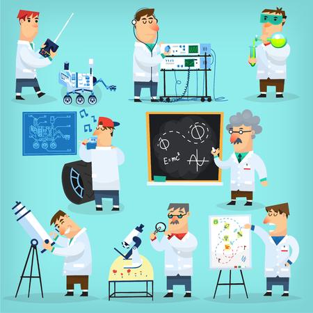 Mars programma ingenieurs en wetenschappers onderzoeken, repareren, het berekenen, het observeren en presenteren project Stock Illustratie