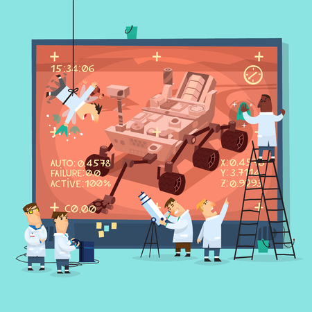 aeronautics: Placard representing space scientists watching broadcast from Mars research rover, preparing screen for presentation.