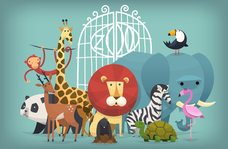 inviting: Vector illustration card with zoo animals standing near gates inviting to visit a Zoo Illustration