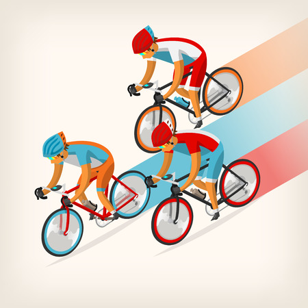 cycling helmet: Set of colorful bicycle riders training for competition at cycling track