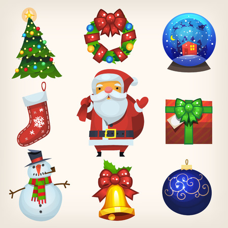 Set of colorful flat icons for winter holiday greeting card or any other christmas design