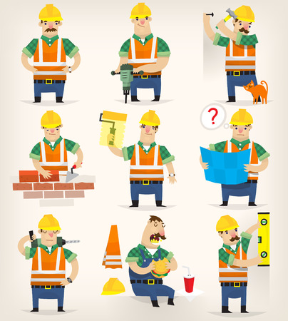 Set of colorful grown up men making different house remodeling and building works at construction site.