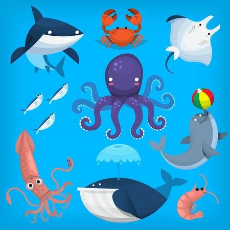 Colorful cartoon marine animals and sea creatures