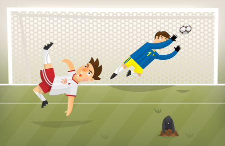scoring: Football player playing soccer scoring goal on a green field Illustration