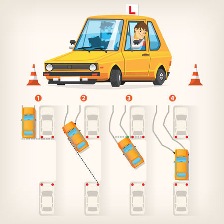 Instructor que enseña a su alumno para aparcar en paralelo Ilustración de vector
