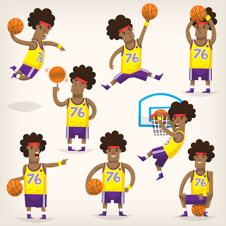 Set of basketball players on different positions playing basketball
