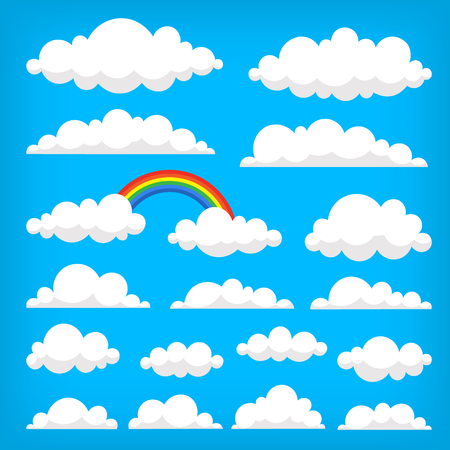 Collection of vector clouds on the blue sky. Isolated illustrations Иллюстрация