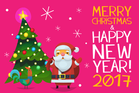 wishing card: Cute card with santa claus, christmas tree and a hen. Classic Santa Claus standing near christmas tree greeting people and wishing them merry christmas and happy new year.
