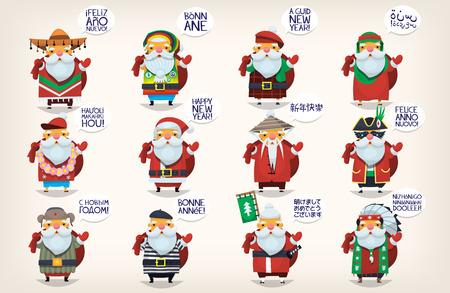 Śliczne Mikołajki. Klasyczny Mikołaj pojechał na wakacje na całym świecie witając ludzi i życząc im szczęśliwego Nowego Roku. Pojedyncze Santas dla kart okolicznościowych w języku francuskim, hiszpańskim, chińskim i angielskim.