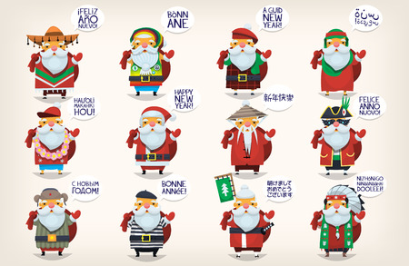 Cute Santa Clauses. Classic Santa Claus went on vacation around the world greeting people and wishing them happy new year. Isolated santas for greeting cards in french, spanish, chinese, and english. Vettoriali