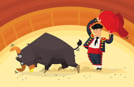 traumatic: Man with red cloth showing tricks with an angry bull on arena Illustration