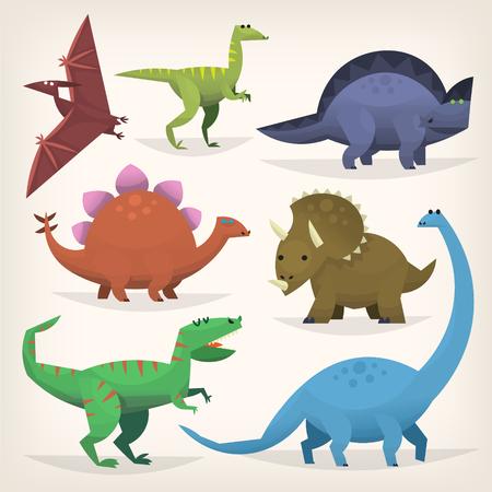 brachiosaurus: Cute cartoon dinosaurs from prehistoric jurassic period. Isolated illustrations