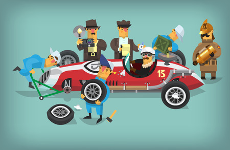 Colorful illustration with retro pit stop workers and engineers maintaning technical service for a racing car during a rally.