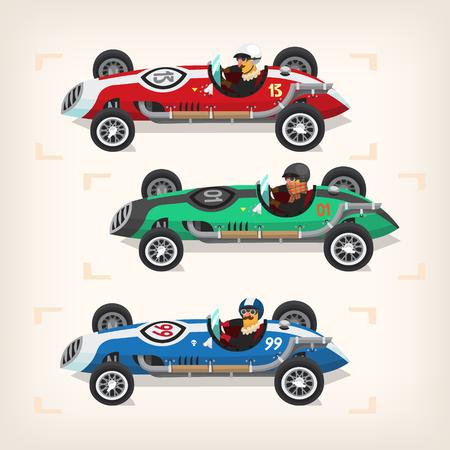 Set of colorful fast retro motor racing cars on a start line. Иллюстрация