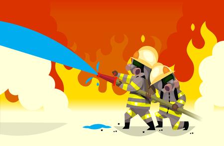 Twee brandweerman blussen vuur water te geven uit de slang Stock Illustratie