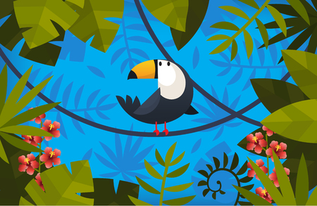 Clorful symmetric illustration with toucan and exotic leaves as a frame Иллюстрация