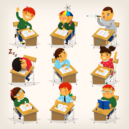 classwork: Set of children sitting at their desks and behaving differently. Elementary school lesson illustration.
