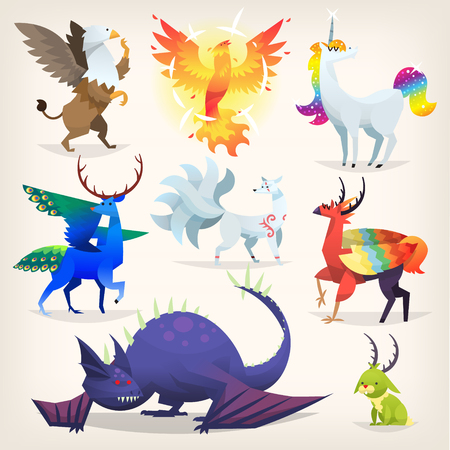 Set of colorful mythological fantasy creatures from all over the world Illustration