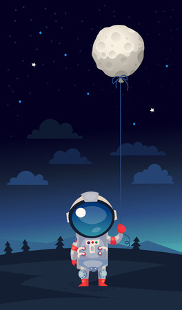 Astranaut in a spacesuit standing on earth holding balloon shaped like the moon in his hand 向量圖像
