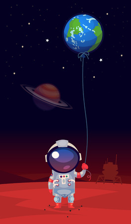 Homesick astranaut in a spacesuit standing on mars holding balloon shaped like the earth in his hand