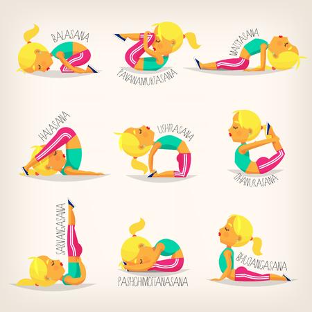 Young girl making yoga Иллюстрация