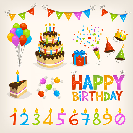 Set of colorful birthday party elements and sweets. Happy birthday poster, candles and cake. Holiday flags, presents and decorations