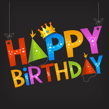 surprise party: Colorful birthday banner with cartoon letters. Happy birthday paper text. Holiday greetings. Surprise birthday party sign Illustration